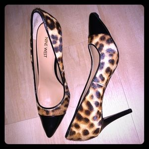 NINE WEST LEOPARD AND BLACK STILETTO HEELS NEW 7